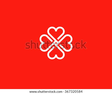Four hearts social vector symbol. Heart cross logotype. Abstract line flower leaf medical logo icon sign. - stock vector
