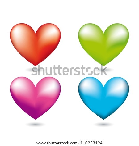 four hearts with shadow over white background. vector illustration - stock vector
