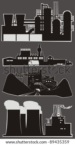 Four heavy industry facility cartoon outlines - vector illustration set (Part 1) - stock vector