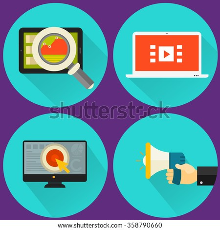 Four high detailed flat style SEO icons - stock vector