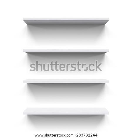 Four horizontal wooden shelves on white background for design - stock vector