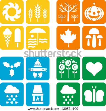 Four icons for the Four Seasons - stock vector