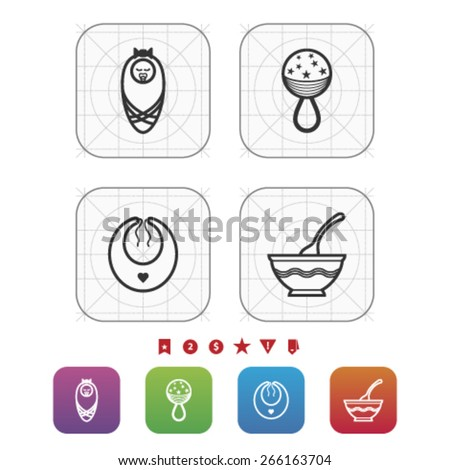 Four icons in relation to a Baby born time / Baby care objects, pictured here from left to right, top to bottom: Newborn Baby, Baby Rattle, Baby bib, Baby soup bowl.  - stock vector