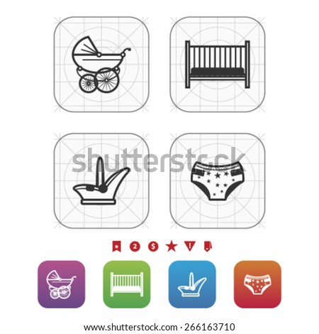 Four icons in relation to a Baby born time / Baby care objects, pictured here from left to right, top to bottom: 