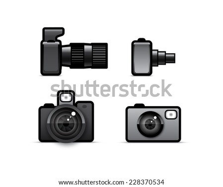 Four icons of photo camera - stock vector