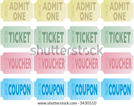 Four illustrations of a strips of tickets in different colours
