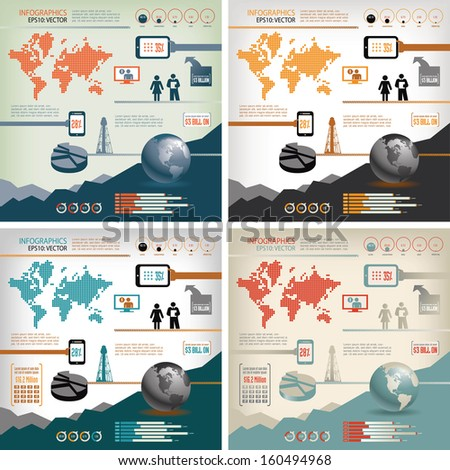 Four-in-One infographics�4 Color Schemes For The Price of One - stock vector