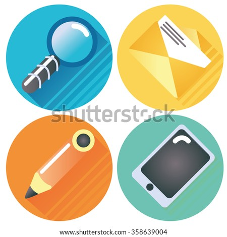 Four internet buttons magnifying glass, letter, pen and tablet - stock vector