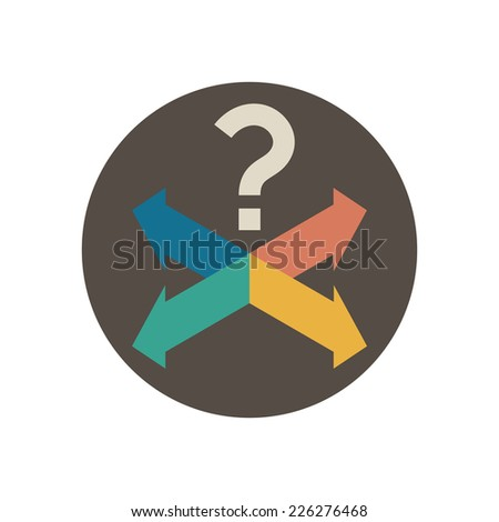 Four intersecting directional arrows and question mark. Vector illustration in trendy flat style isolated on white background - stock vector