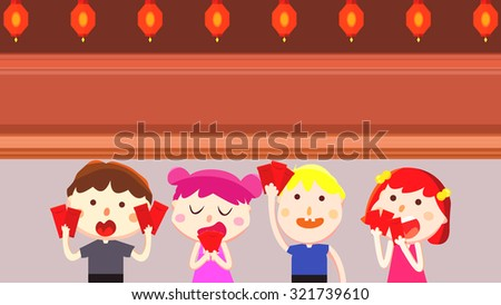Four kids, boys and girls holding envelope with lucky money. Happy Chinese New Year traditional Holidays. Cute cartoon Asian people character. Red lantern decoration objects. Greeting card template.
