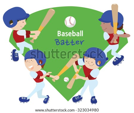 Four kids in uniform holding a baseball bat. Each child is holding a different pose. - stock vector
