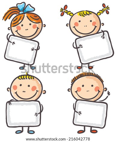 Four kids with blank signs - stock vector