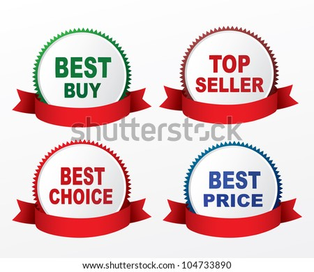 Four labels - best price, best choice, bestseller, best buy. Vector - stock vector