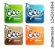 Four labels for eco products - stock vector