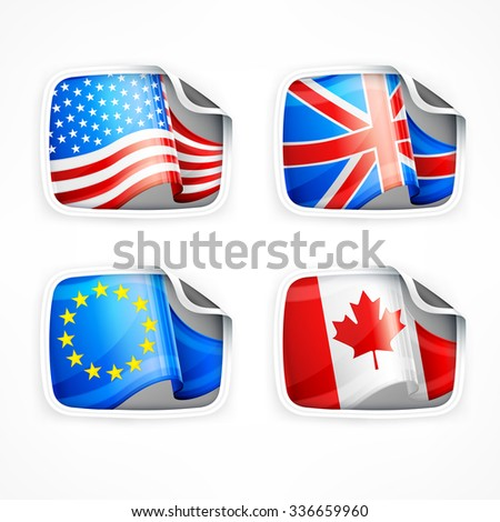 Four labels with different country flags on white, vector illustration - stock vector