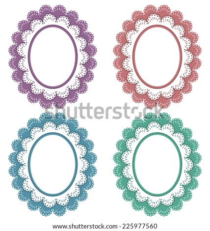 Four lace multicolored frames isolated on white - stock vector