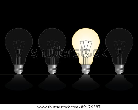 four lamps on black background - stock vector