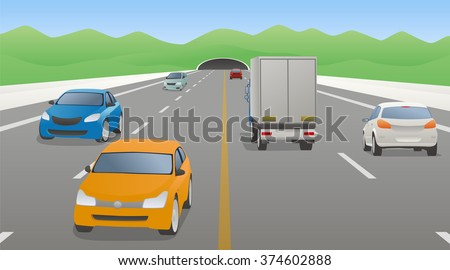 four lanes road and various vehicles, opposite lane, mountains and tunnel, vector illustration - stock vector
