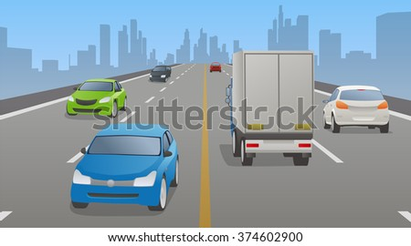 four lanes road and various vehicles, opposite lane, vector illustration - stock vector