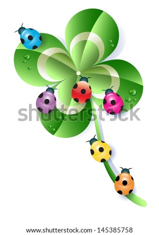 Four-Leaf Clover and Ladybugs