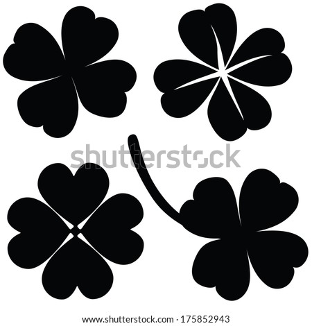 Four leaf clover collection, St. Patrick's day (vector illustration)