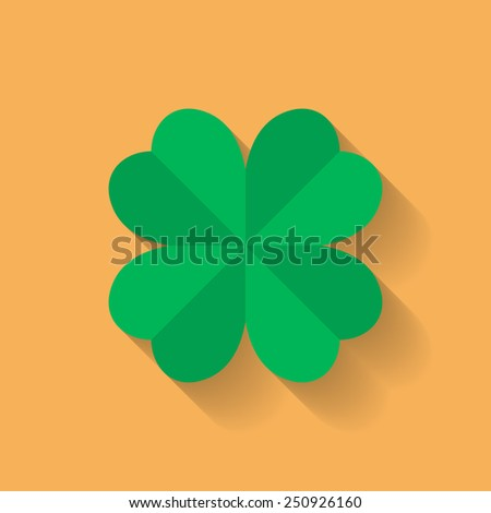 Four leaf clover icon. Flat style.  - stock vector