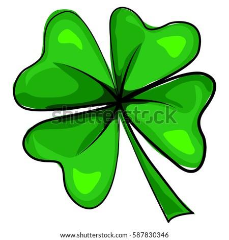 four leaf clover icon vector cartoon stock vector 2018 587830346 rh shutterstock com 4 leaf clover cartoon four leaf clover cartoon pictures