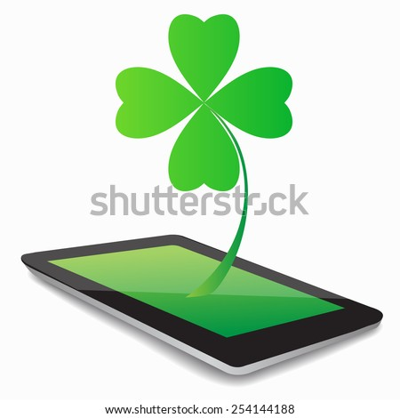 Four- leaf clover - Irish shamrock St Patrick's Day symbol. Useful for your design. Green glass clover  on white background.Stylish abstract St. Patrick's day  leaf clover whit tablet computer. - stock vector