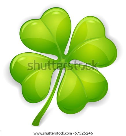 Four leaf clover isolated on white, vector illustration for St. Patrick's day - stock vector