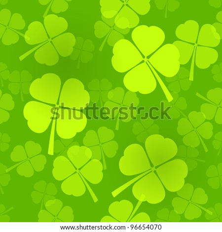 Four-Leaf Clover Pattern - stock vector