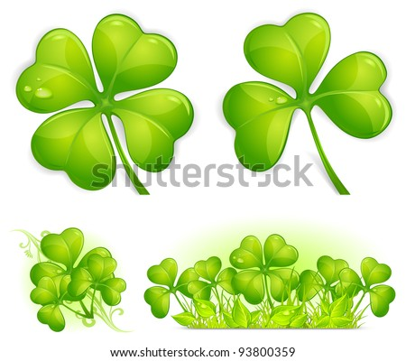 Four leaf clover pattern, vector illustration for St. Patrick's day - stock vector