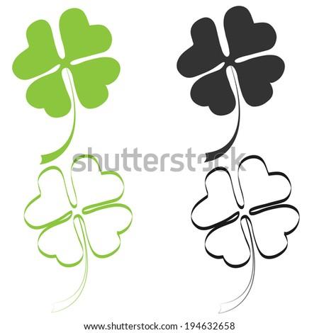 four leaf clover, silhouette. vector illustration - stock vector