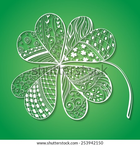 Four leaf, decorative white paper clover filled with hand- drawn floral and geometrical patterns on gradient green background. St. Patrick's day card - stock vector