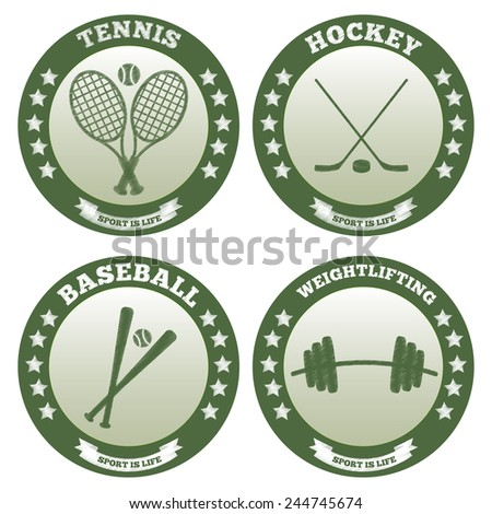 Four logos of sports such as tennis, hockey, baseball, weightlifting - stock vector