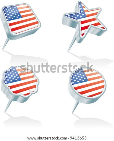 four metal 3D pins in various shapes with the USA flag inside - stock vector