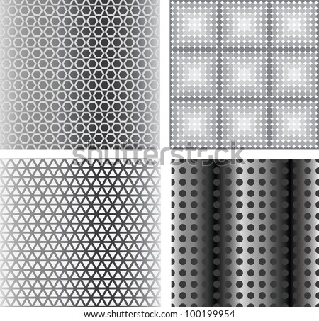 four metal seamless texture. vector background - stock vector