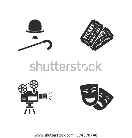 four modern cinema icons - stock vector