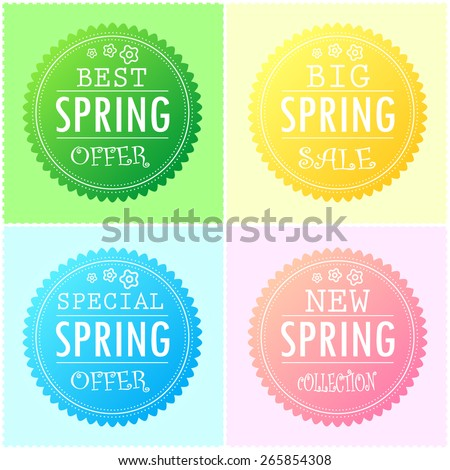 Four modern style spring sticker, label in different color gradients with Best and Special Spring offer, Big Spring Sale and New Spring collection text.