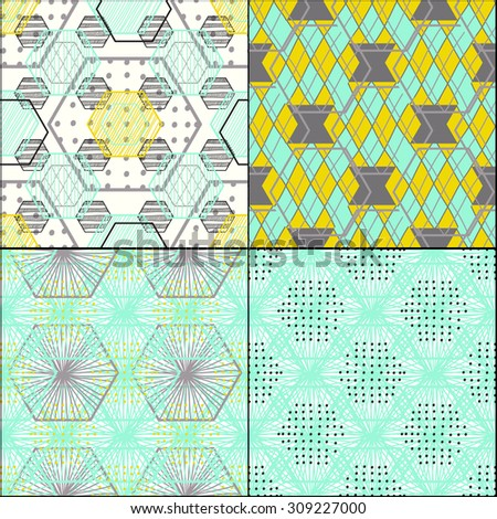 Four Modern stylish textures. Repeating geometric tiles with hexagonal elements, colorful modern seamless pattern for graphic design, Vector - stock vector