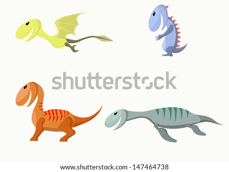 Four monsters. Similar to the dinosaurs. Vector illustration