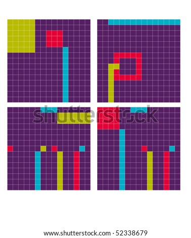 Four mosaic pictures of color flowers. - stock vector
