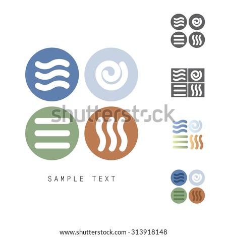 Four Natural Elements vector icons set - Earth, Water, Air and Fire - stock vector