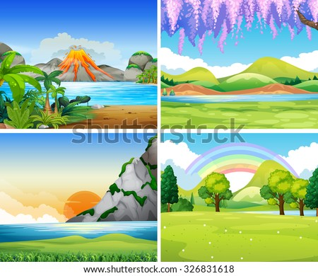 Four nature scenes with lake and park illustration - stock vector