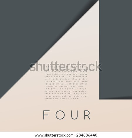 Four : Numeral Graphic in Overlapping Element : Vector Illustration - stock vector