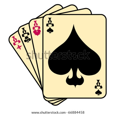 Four of a kind aces spades poker hand. - stock vector