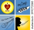 four of the logo on the theme of music and musical instruments - stock photo
