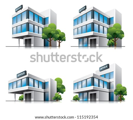 Four office vector house illustration in perspective view with blue glass facade. Work office building icon in cartoon style with green trees. - stock vector