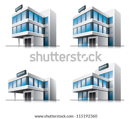 Four office vector house illustration in perspective view with blue glass facade. Work office building icon in cartoon style. - stock vector