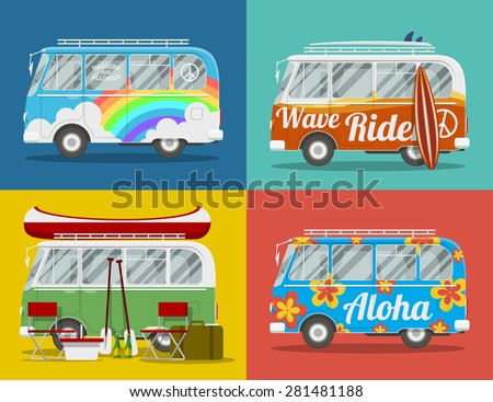 Four old hippie vans with different paints and for different activities. EPS10 vector illustration. - stock vector