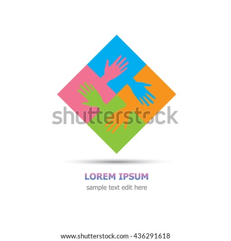 Four organization cooperation colorful logo graphic design - four pieces of jigsaws and hands connected together - stock vector